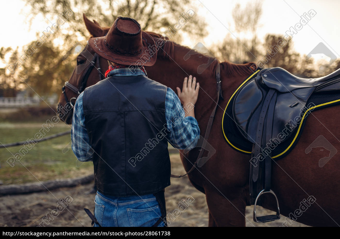 brutal, cowboy, poses, with, horse, , wild - 28061738