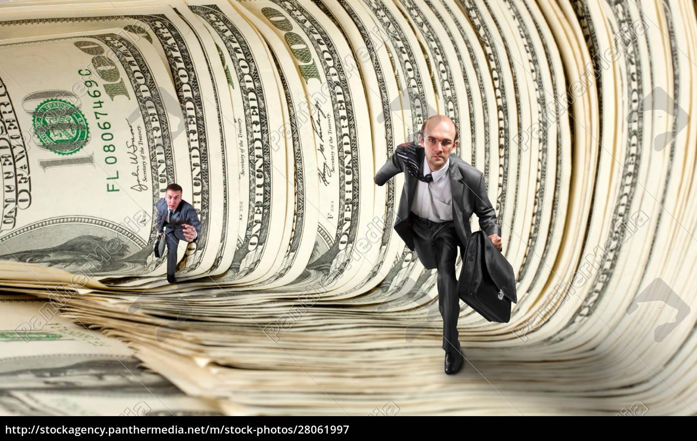 businessmen, running, in, dollar, tunnel - 28061997