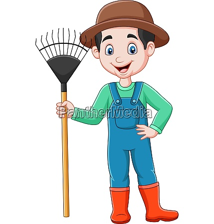 cartoon, farmer, holding, a, rake - 28061791
