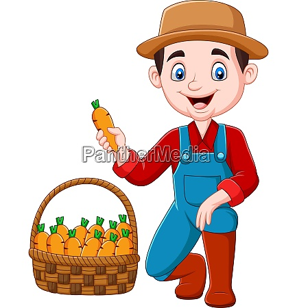 cartoon, little, farmer, harvesting, carrots - 28061482
