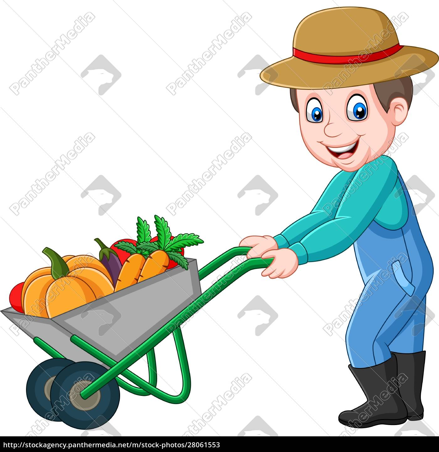 cartoon, young, farmer, pushing, a, wheelbarrow - 28061553