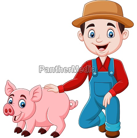 cartoon, young, farmer, with, a, pig - 28061551