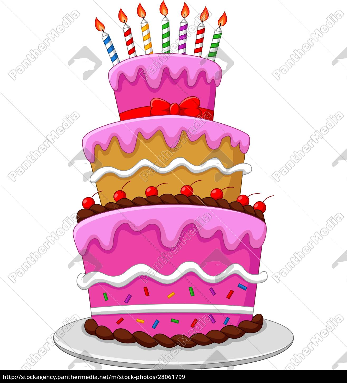 colorful, birthday, cake, with, candles, isolated - 28061799