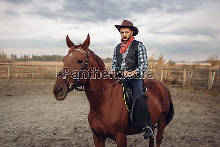 cowboy, riding, a, horse, in, desert - 28061552