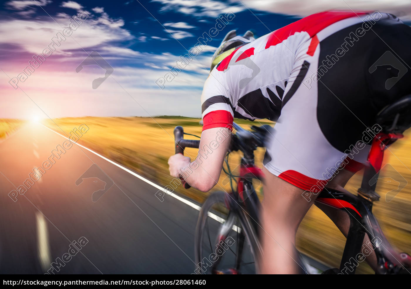 cyclist, rides, on, bicycle, , speed, effect - 28061460