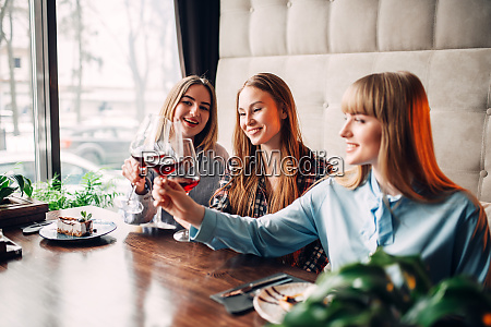 girlfriends, clink, glasses, with, red, wine - 28061576