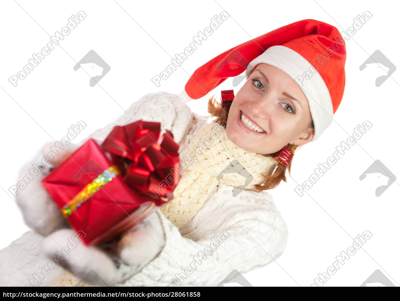 happy, woman, in, christmas, hat, with - 28061858