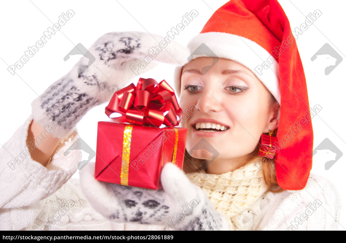 happy, woman, in, christmas, hat, with - 28061889