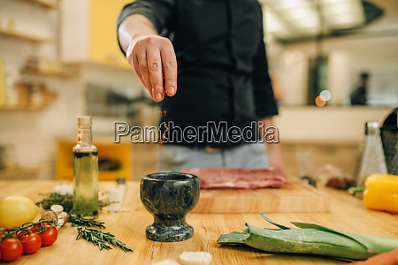 male, person, marinating, raw, meat, on - 28061971