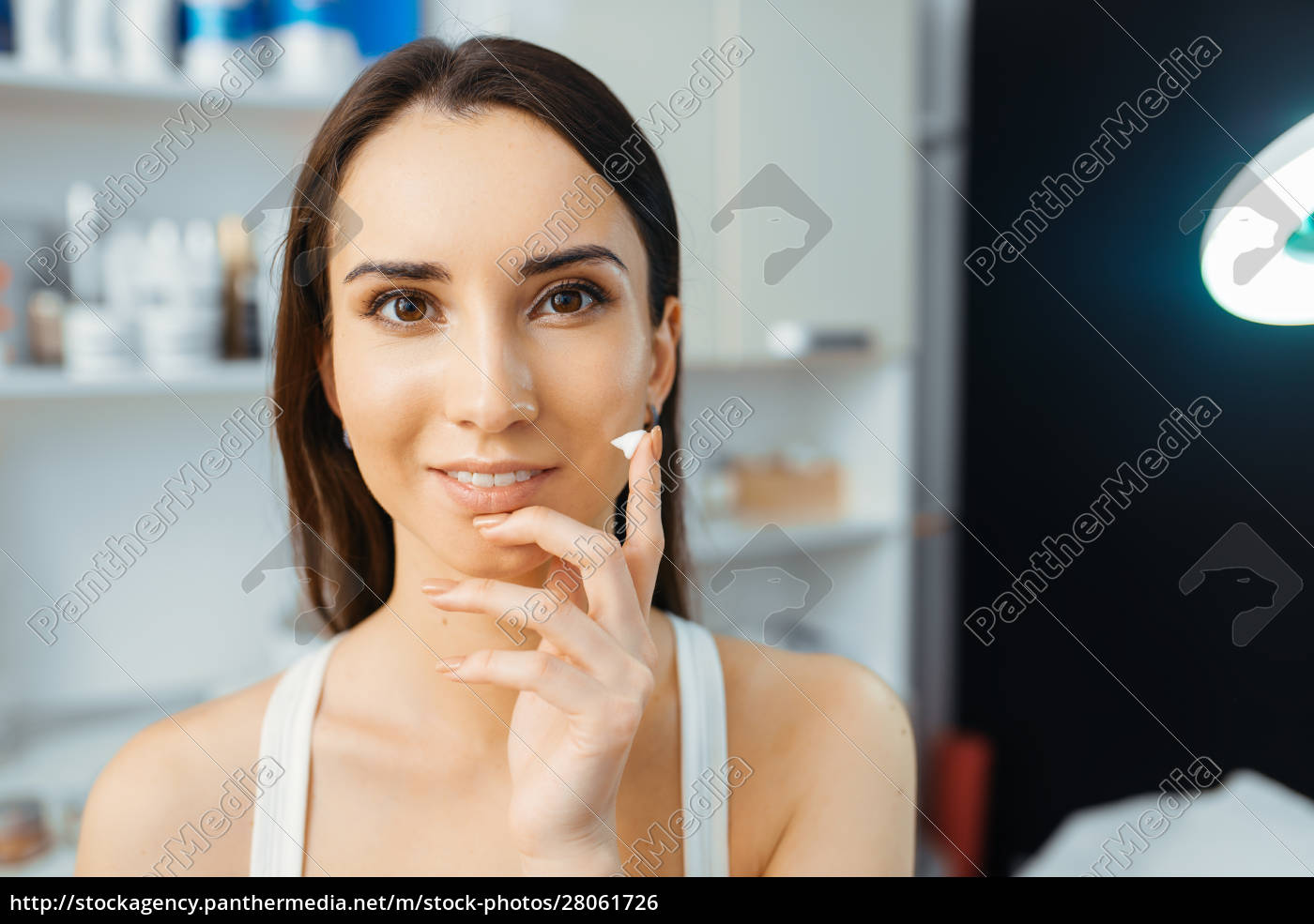 patient, shows, cream, on, finger, , cosmetician - 28061726