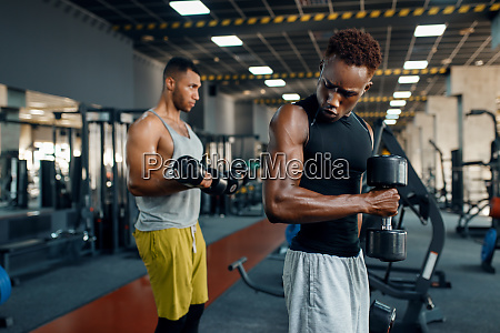 two, athletes, doing, exercise, with, dumbbell - 28061491