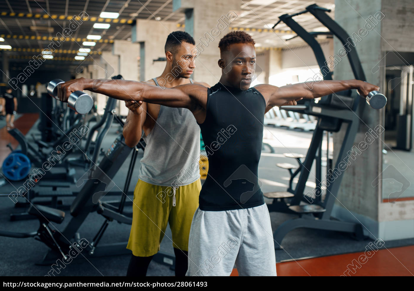 two, athletic, men, doing, exercise, with - 28061493