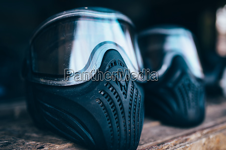 paintball mask with glasses closeup nobody