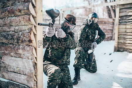 paintball team players in winter battle