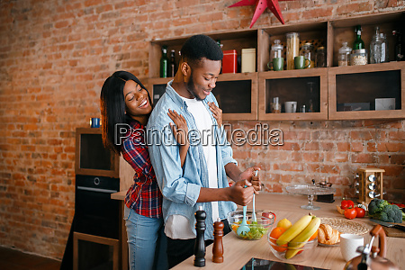 black, man, cooking, breakfast, on, the - 28062977