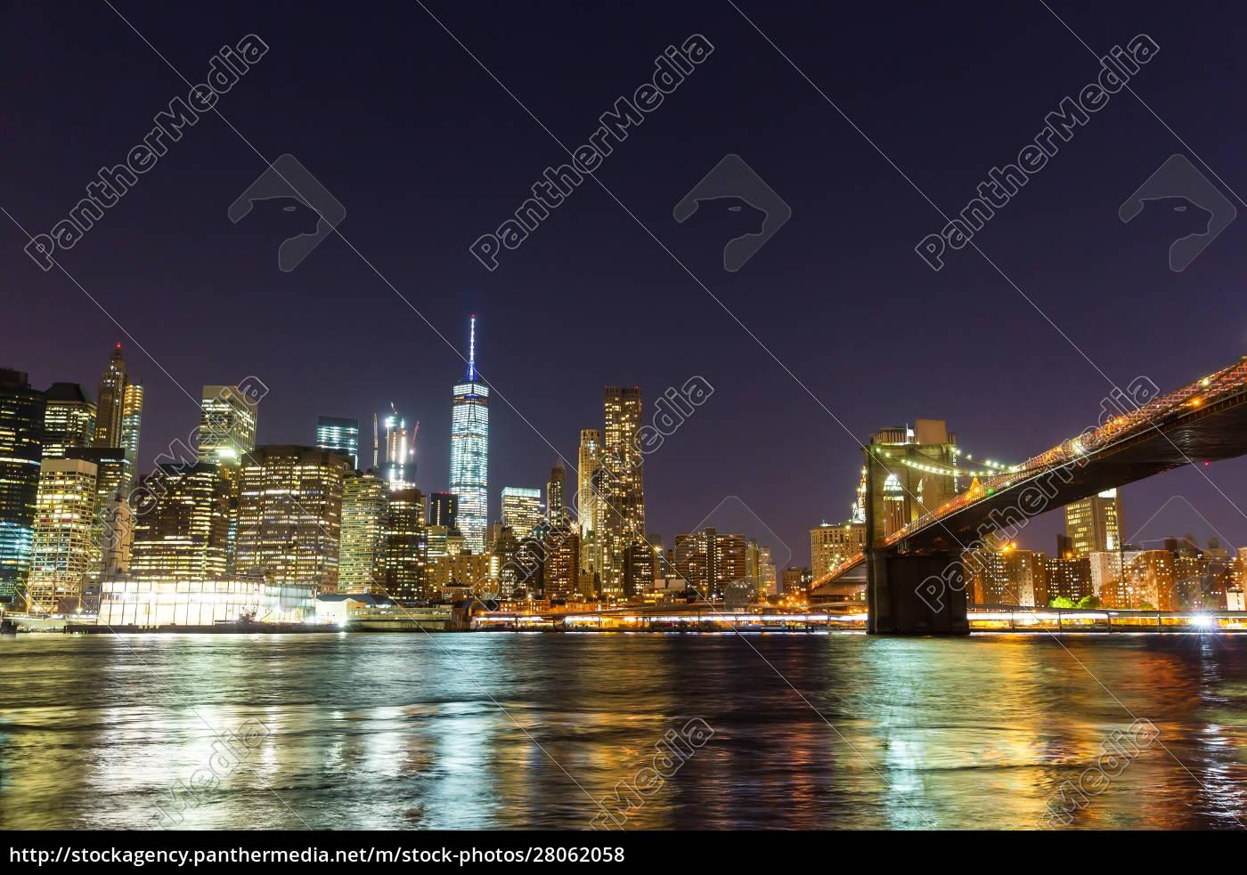 brooklyn, bridge, and, manhattan, waterfront, at - 28062058