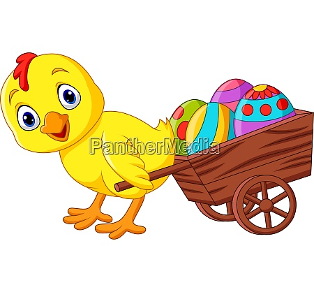 cartoon, baby, chick, pulling, a, cart - 28062285