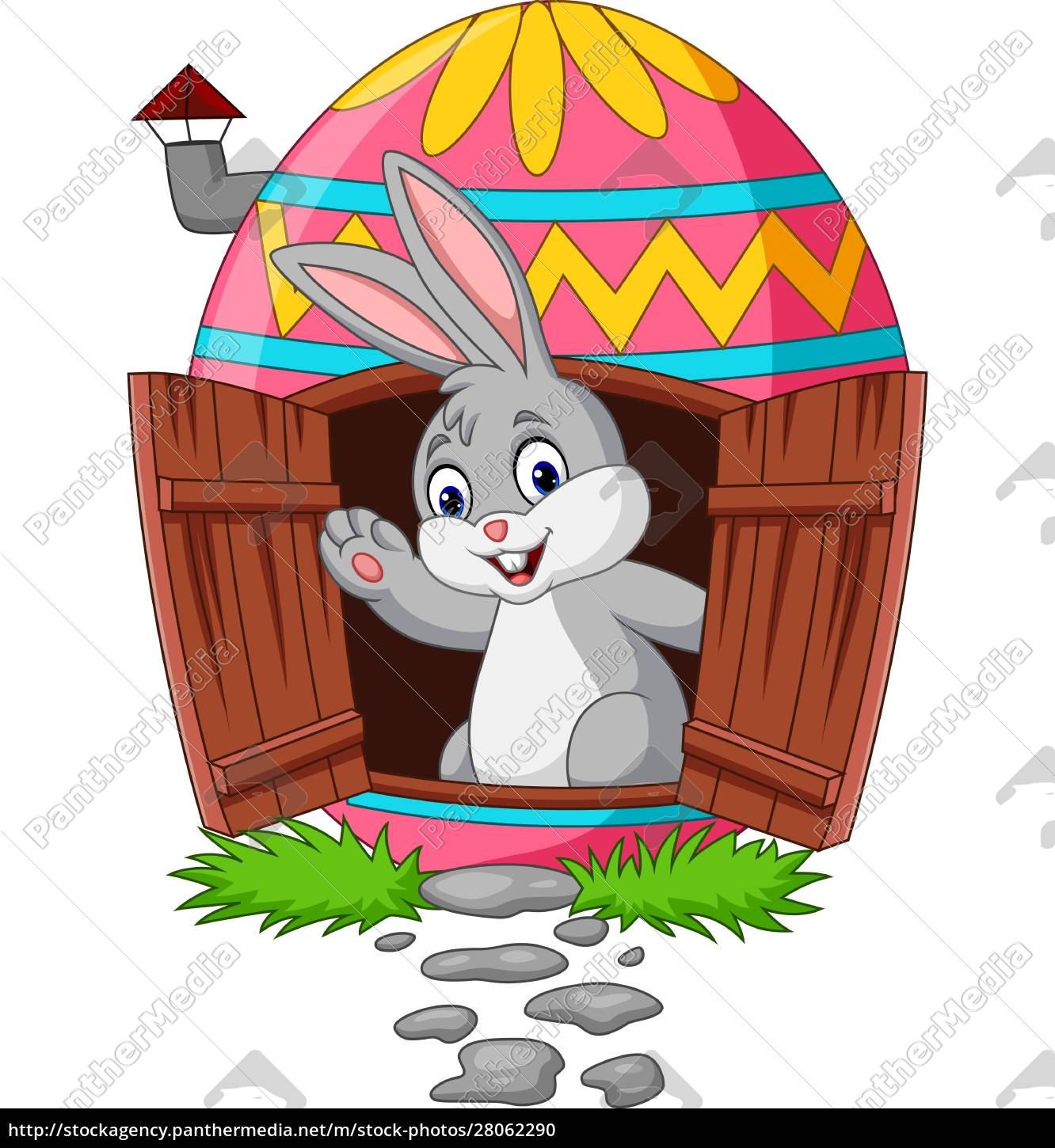 cartoon, bunny, with, decorated, easter, eggs - 28062290