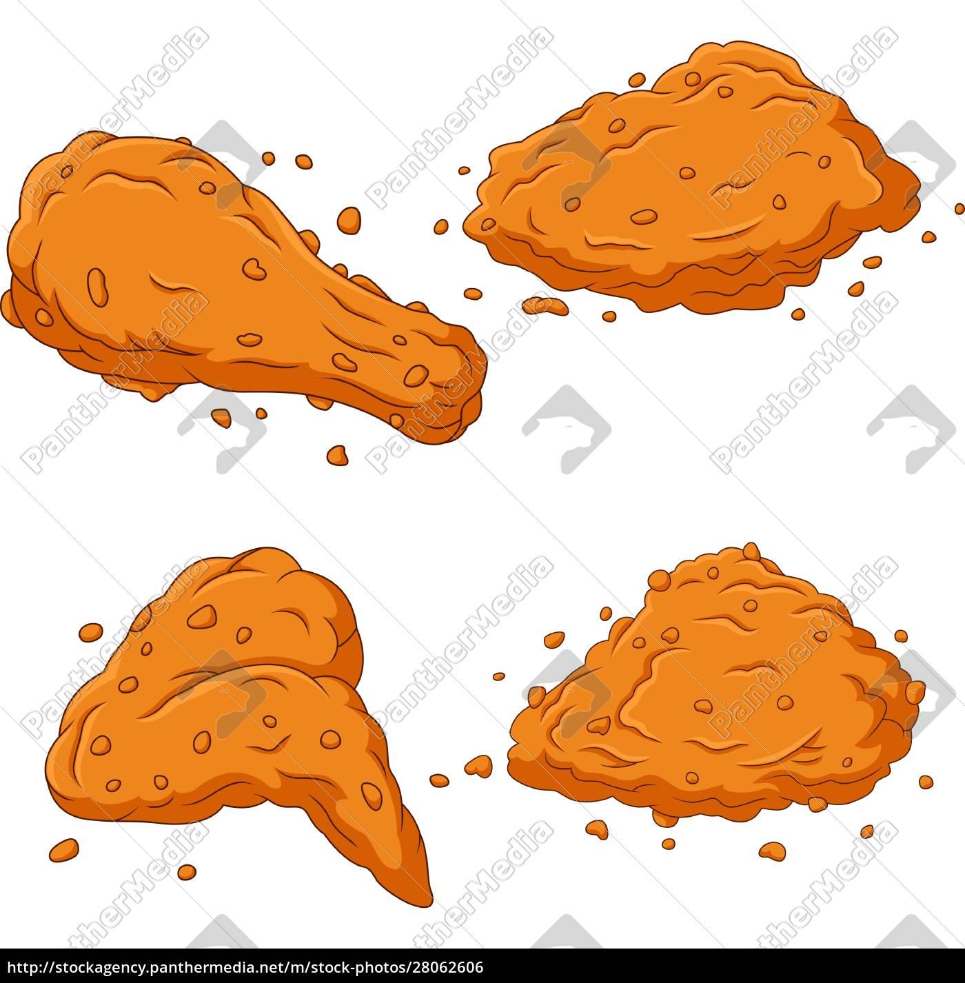 cartoon, fried, chicken, collection, set - 28062606