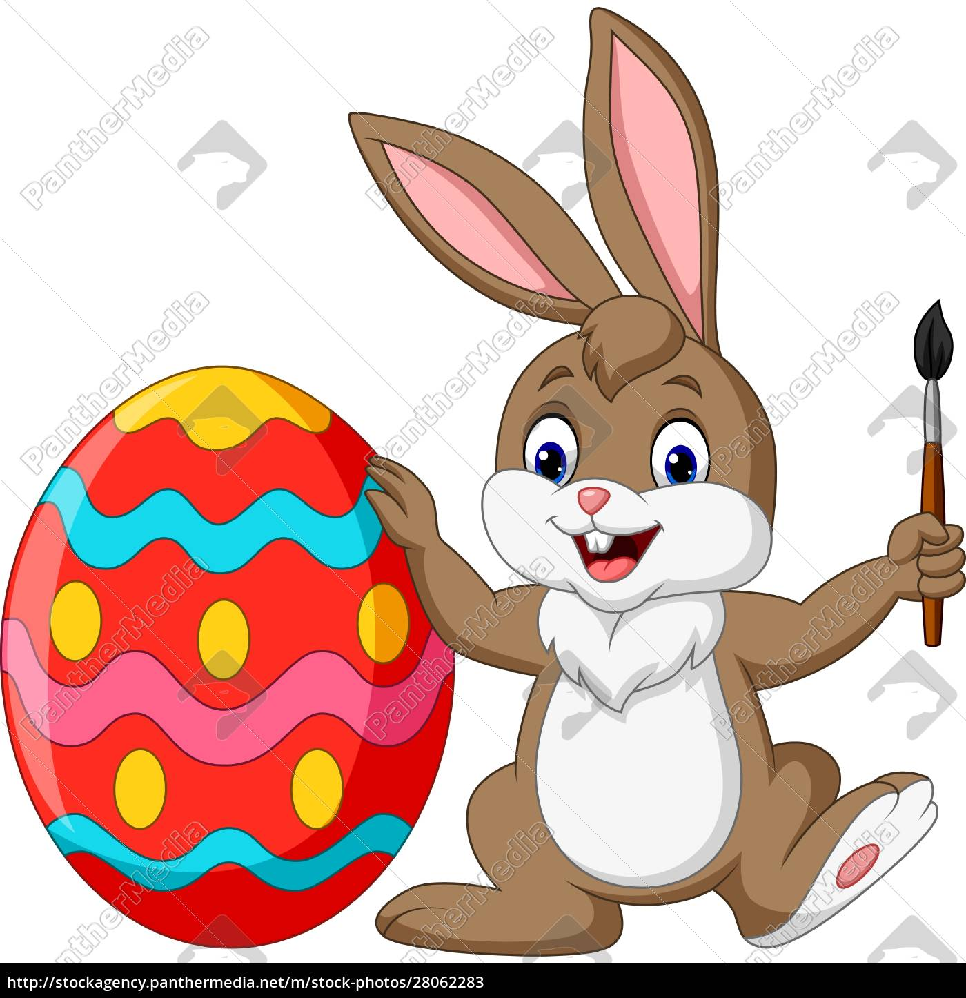 cartoon, rabbit, painting, an, easter, egg - 28062283