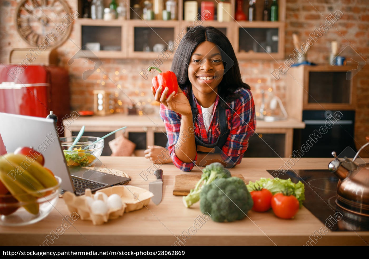 cheerful, black, woman, cooking, on, the - 28062869
