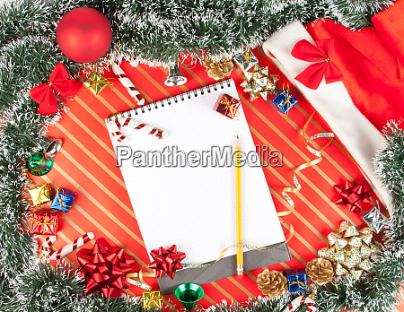 christmas, background, with, notepad - 28062499