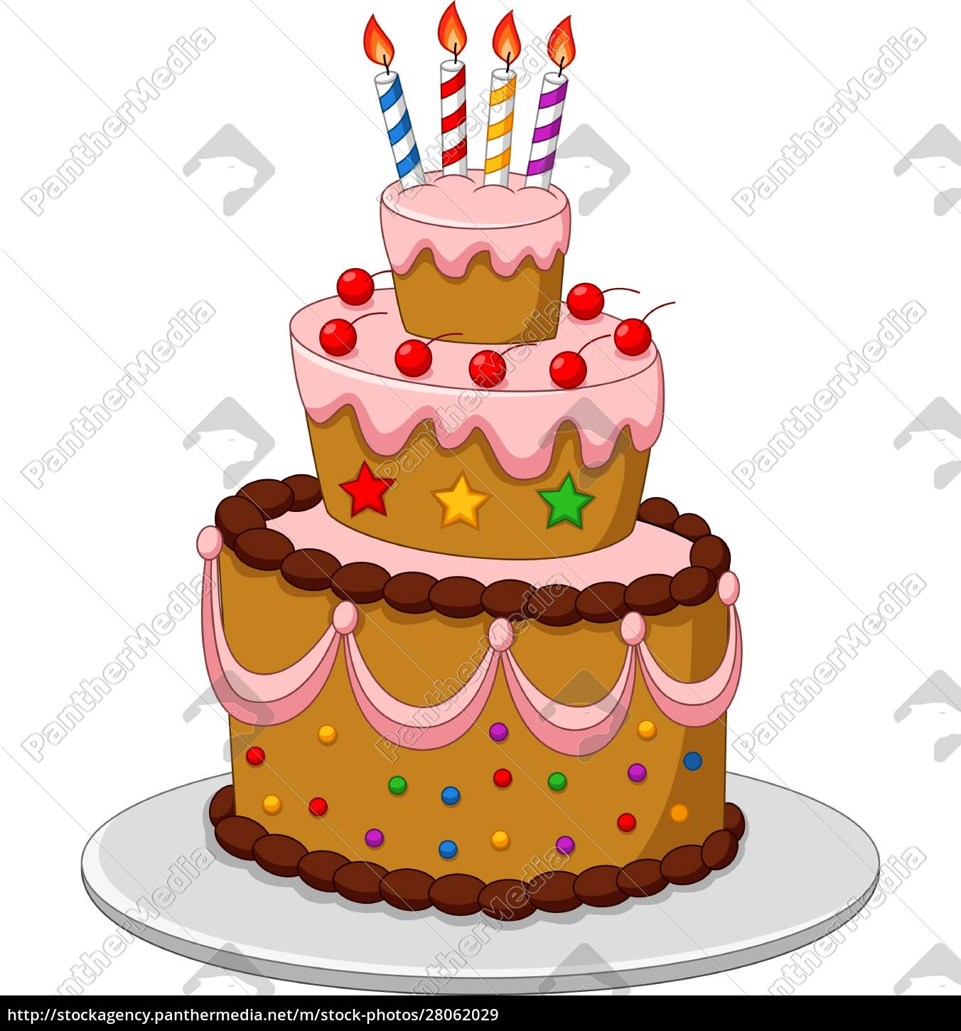 colorful, birthday, cake, with, candles, isolated - 28062029