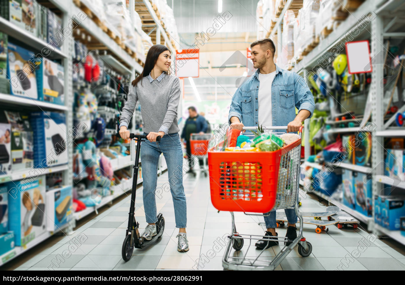 couple, in, shop, , husband, with, cart, - 28062991