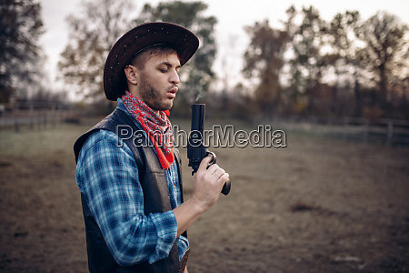 cowboy, with, revolver, wins, gunfight, , lucky - 28062232