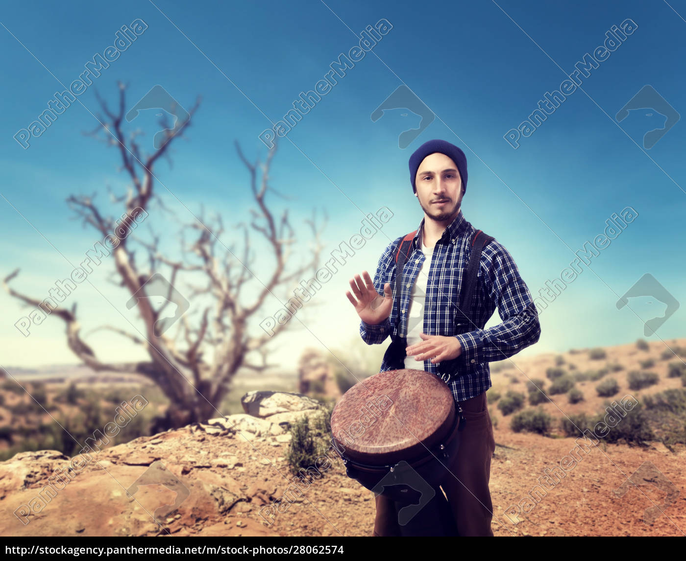 drummer, plays, on, wooden, bongo, drums - 28062574