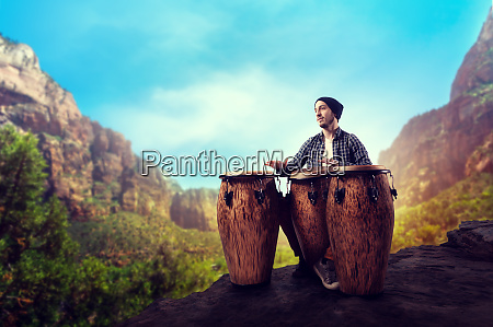 drummer, with, wooden, drums, plays, in - 28062528