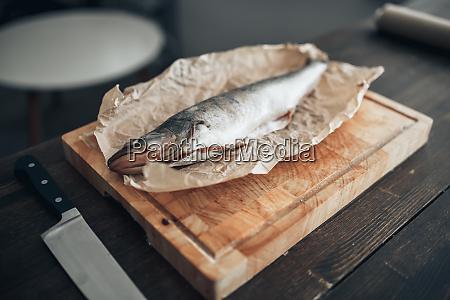 fresh, fish, preparation, on, cutting, board, - 28062909