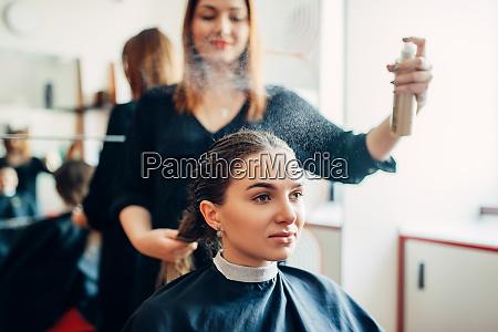 hairdresser, works, with, hair, spray, , hairdressing - 28062182