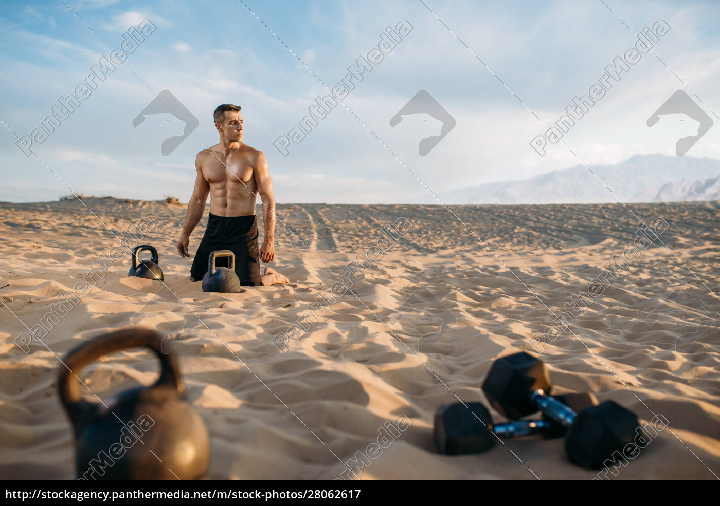 male, athlete, after, workout, in, desert - 28062617