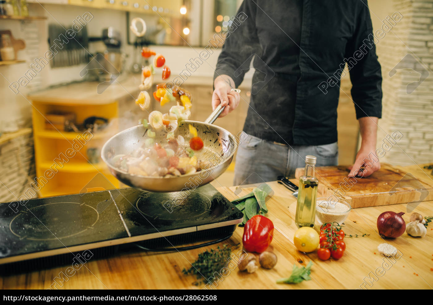 male, chef, cooking, meat, with, vetables - 28062508