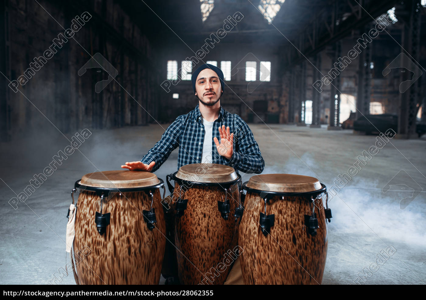 male, drummer, plays, on, wooden, drums - 28062355