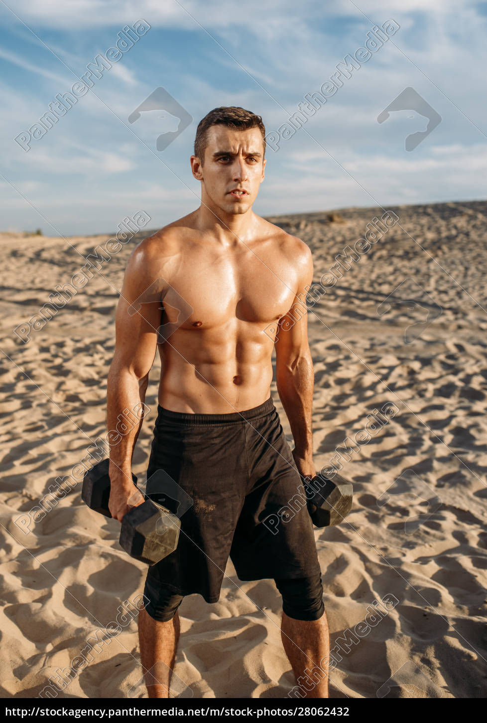 muscular, male, athlete, with, dumbbells, in - 28062432