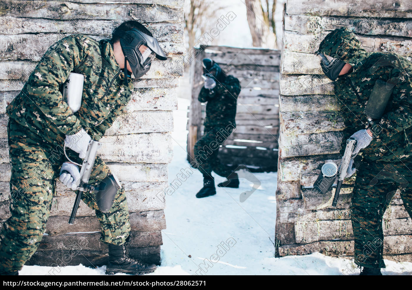 paintball, battle, , paintballing, in, winter, forest - 28062571