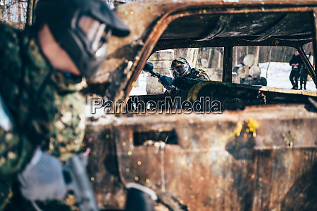 paintball, battle, , players, fight, around, burned - 28062510