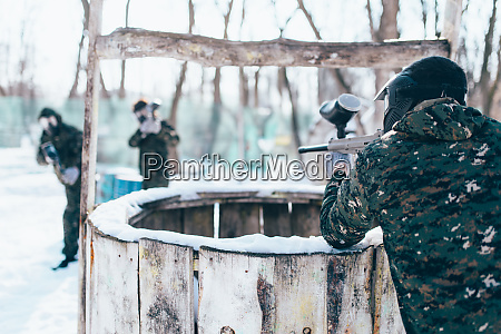 paintball, player, shooting, at, the, enemy - 28062671
