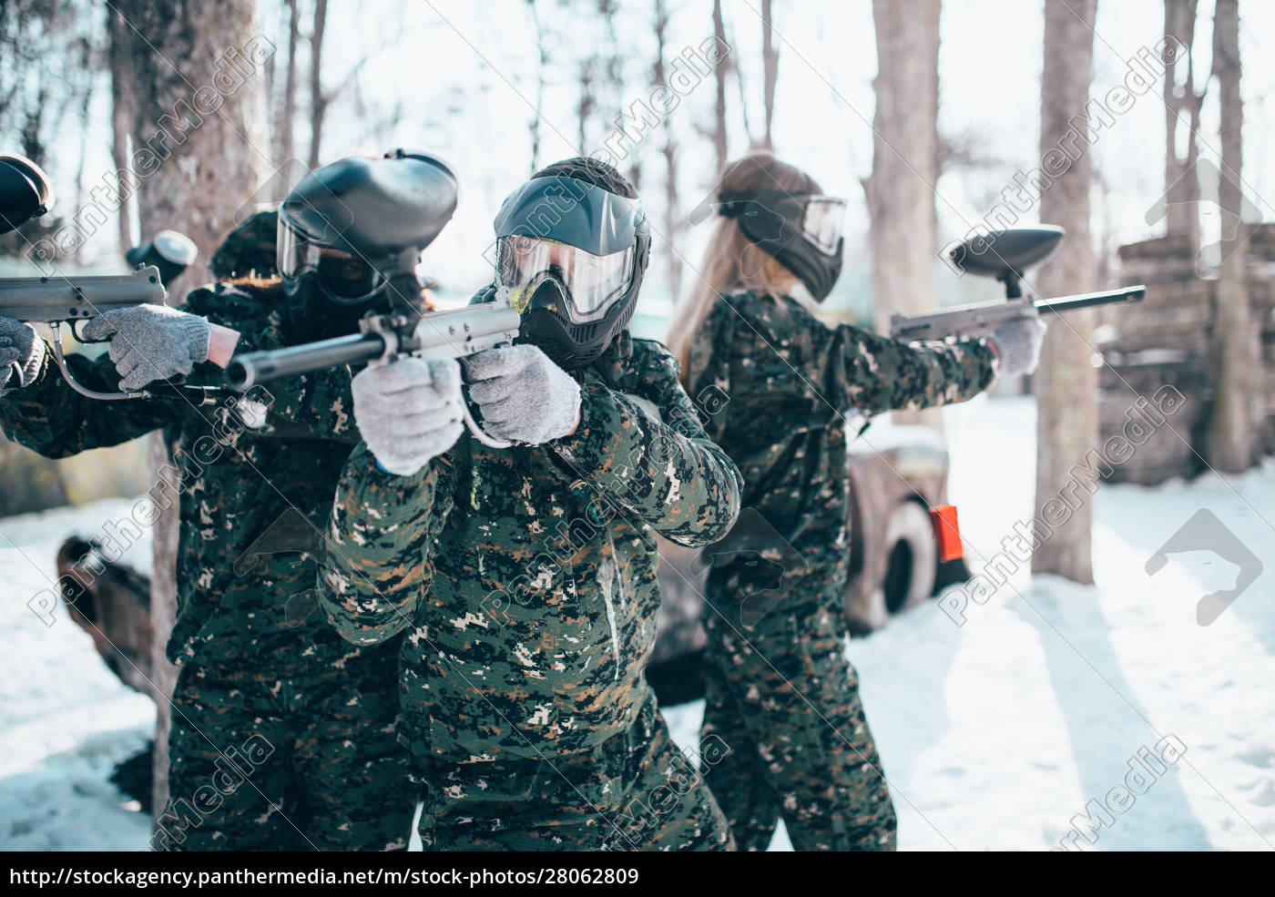 paintball, players, in, uniform, and, masks - 28062809