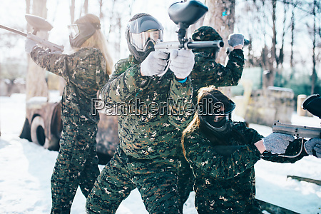 paintball, players, in, uniform, and, masks - 28062817