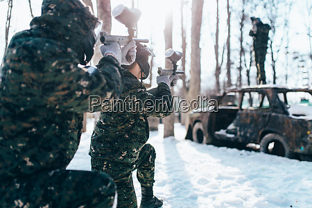 paintball, players, shooting, at, enemy, , winter - 28062747