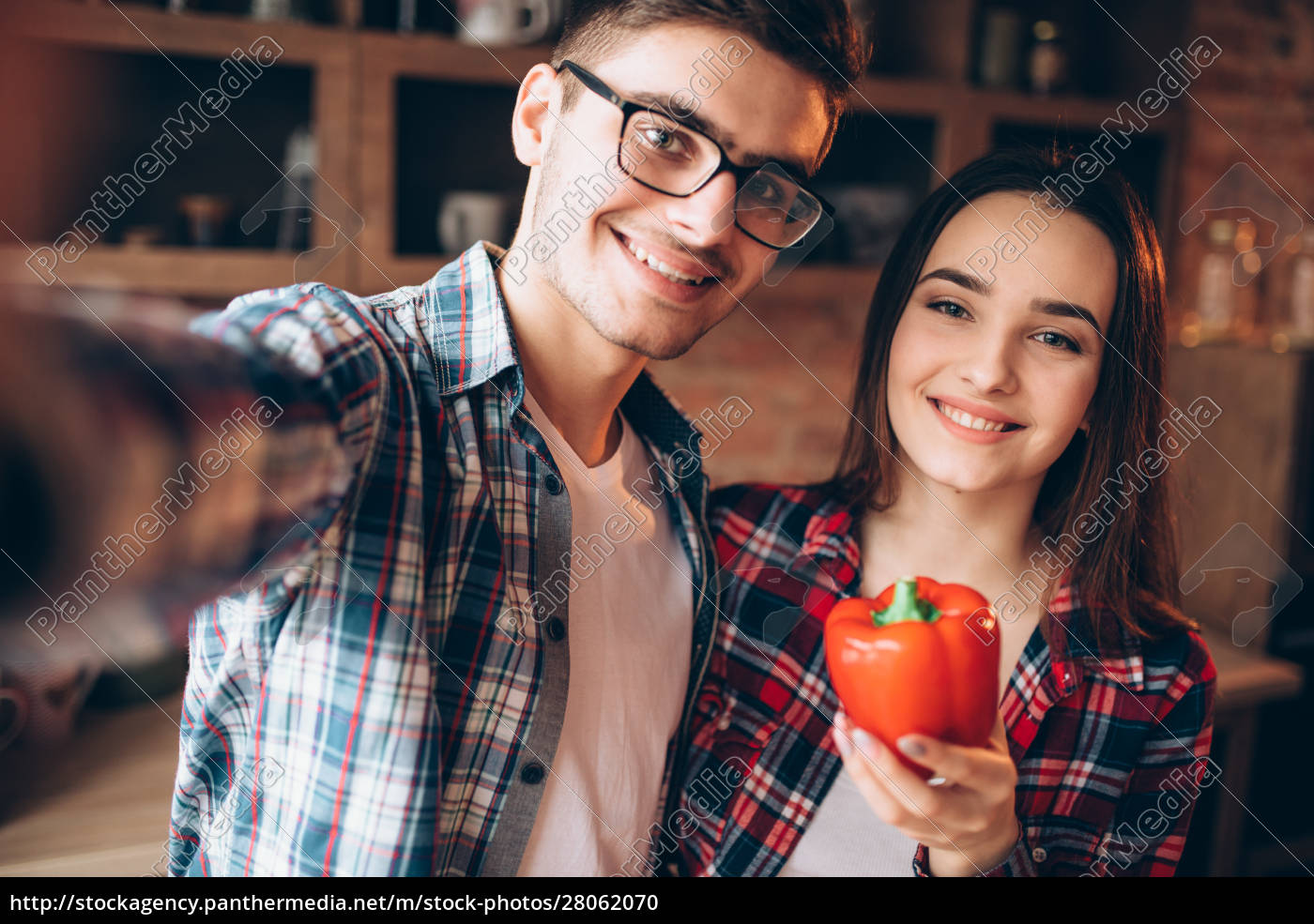 smiling, love, couple, makes, selfie, on - 28062070