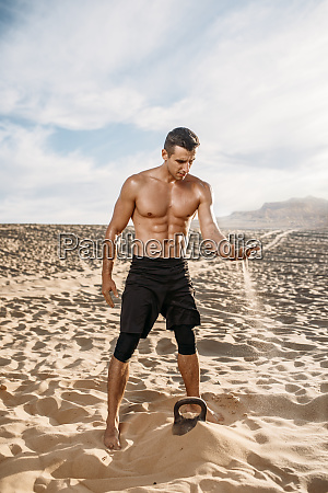 sportsman, after, workout, in, desert, at - 28062215