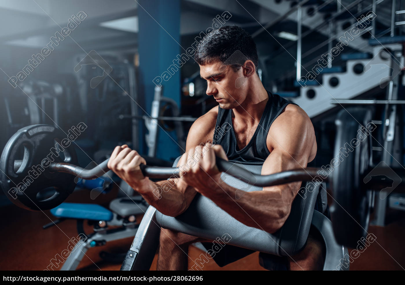 tanned, man, exercise, with, barbell, in - 28062696
