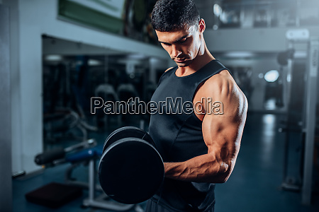 tanned, muscular, athlete, workout, with, dumbbell - 28062806