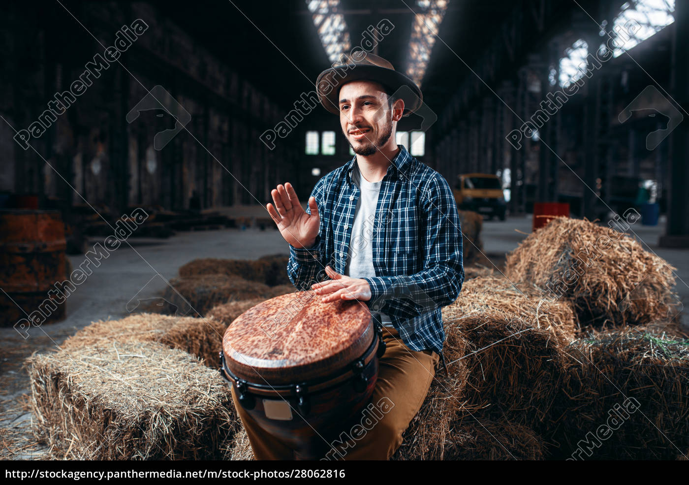 young, male, drummer, against, african, wooden - 28062816