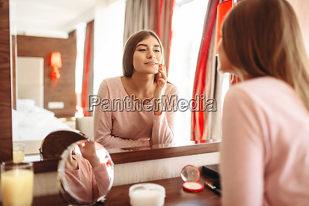 young, woman, in, pajama, in, front - 28062065