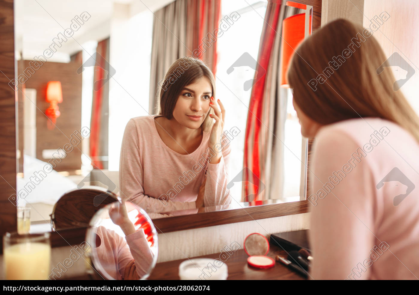 young, woman, in, pajama, in, front - 28062074